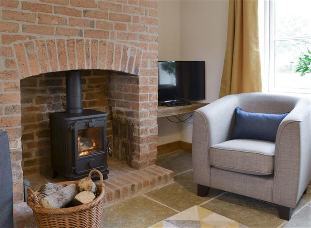 Welcoming living room with wood burner at Olivia,