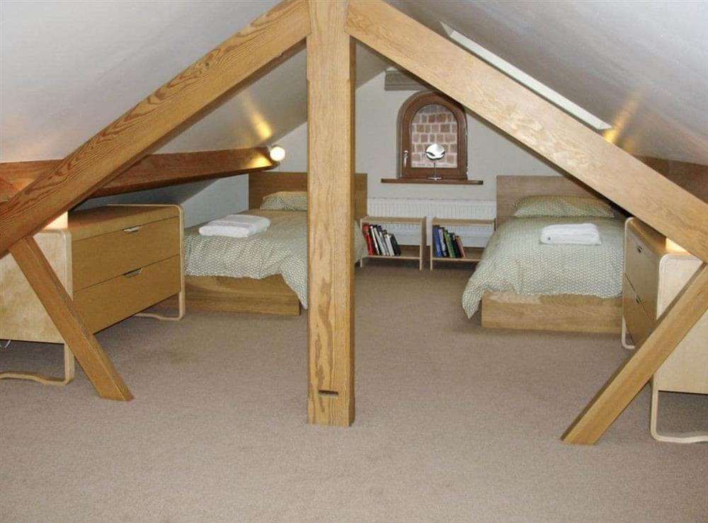 Twin bedroom at Red House Farm Cottage in Whitegate, Cheshire., Great Britain