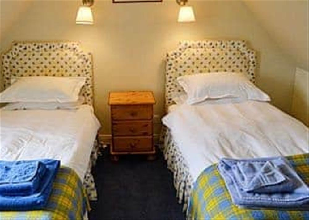 Twin bedroom at Reid's Cottage in Lairg, Sutherland., Great Britain