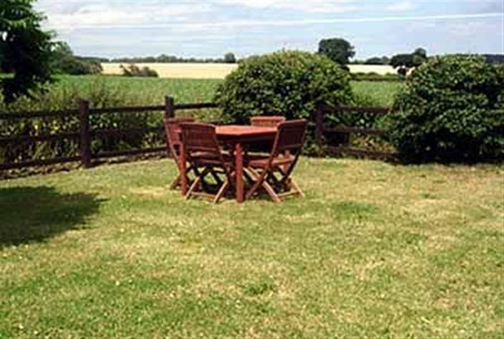 Sitting-out-area at Restwell in Southrepps, Norfolk., Great Britain