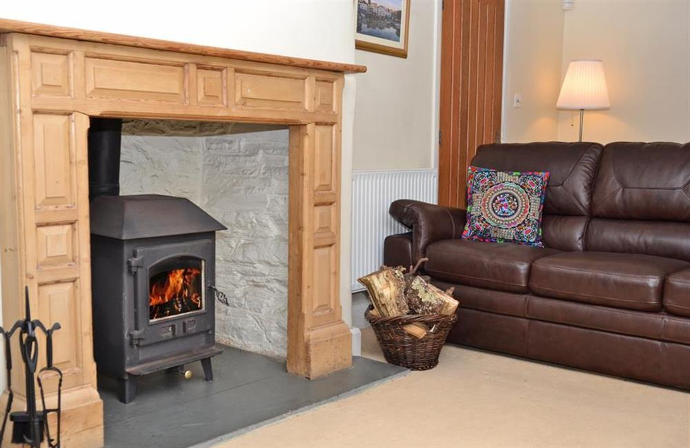 The cosy log burner at Rill House, Slapton