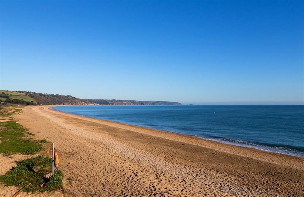 The long stretch of shingle beach at Slaton, just  half a mile away at Rill House, Slapton