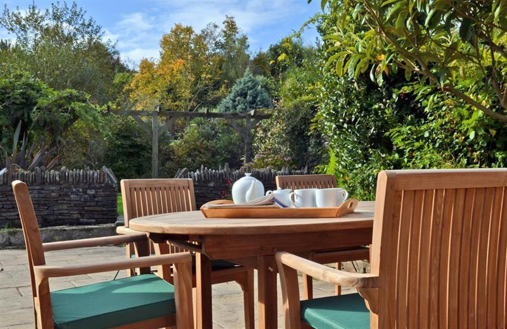 The sunny courtyard is perfect for al fresco dining at Rill House, Slapton