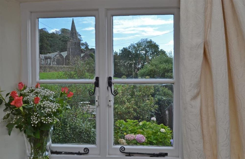 View of the church from the master room at Rill House, Slapton