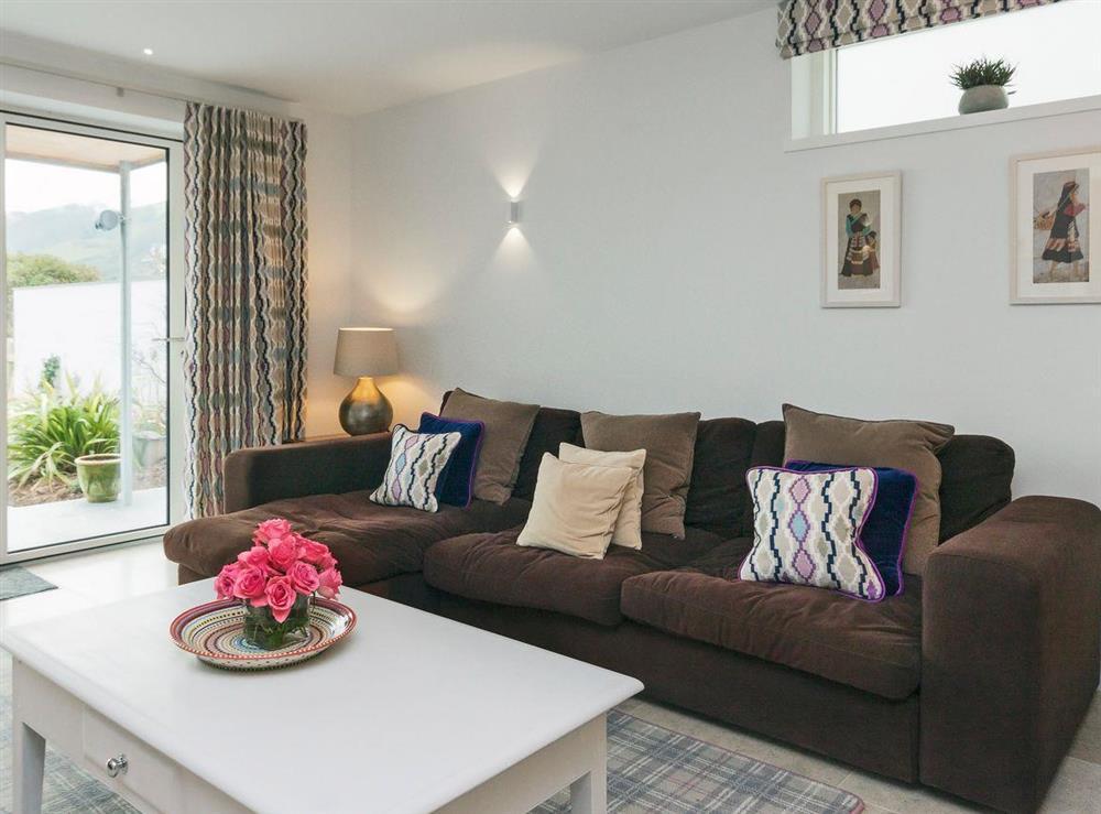 Cosy living room area at River Coombe in Dartmouth, Devon