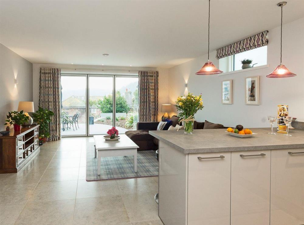 Stylishly furnished open plan living space at River Coombe in Dartmouth, Devon