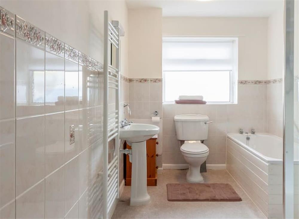 Bathroom with heated towel rail at Rivers Reach in Dartmouth, Devon