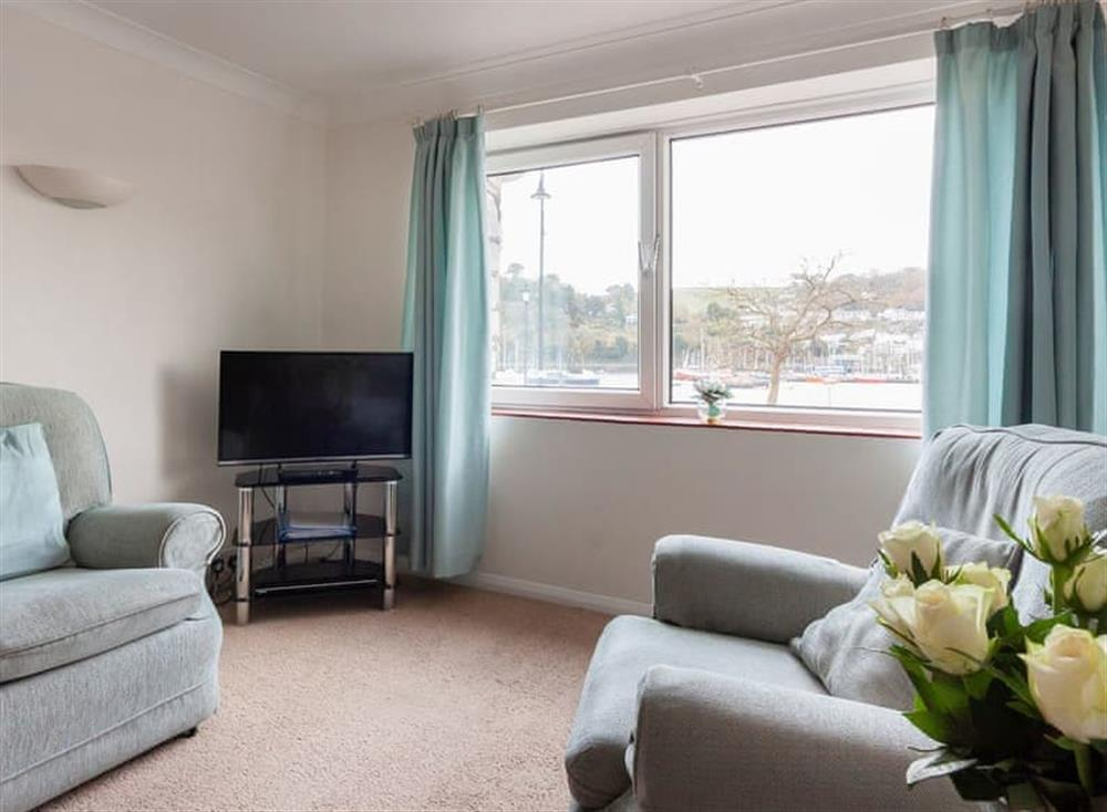 Living room with fantastic views of the estuary at Rivers Reach in Dartmouth, Devon