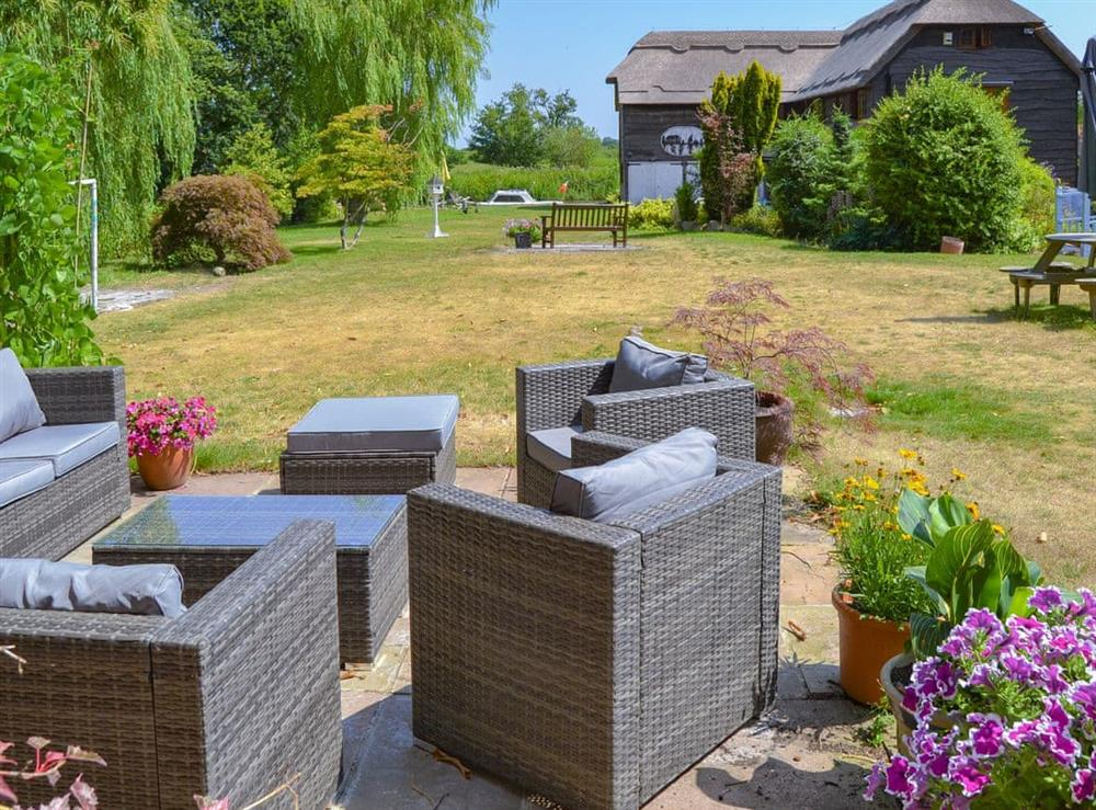 Charming sitting out area at Riversdale Cottage in Irstead, near Wroxham, Norfolk