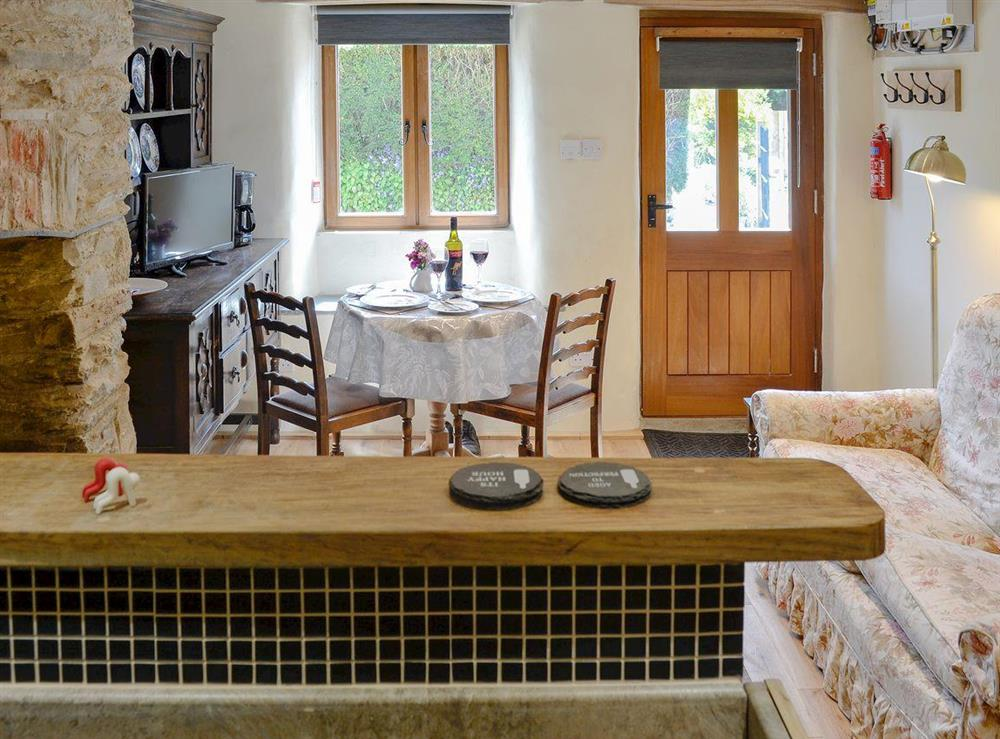 Open plan living space with character at Rock Bottom in Milton Combe, near Yelverton, Devon