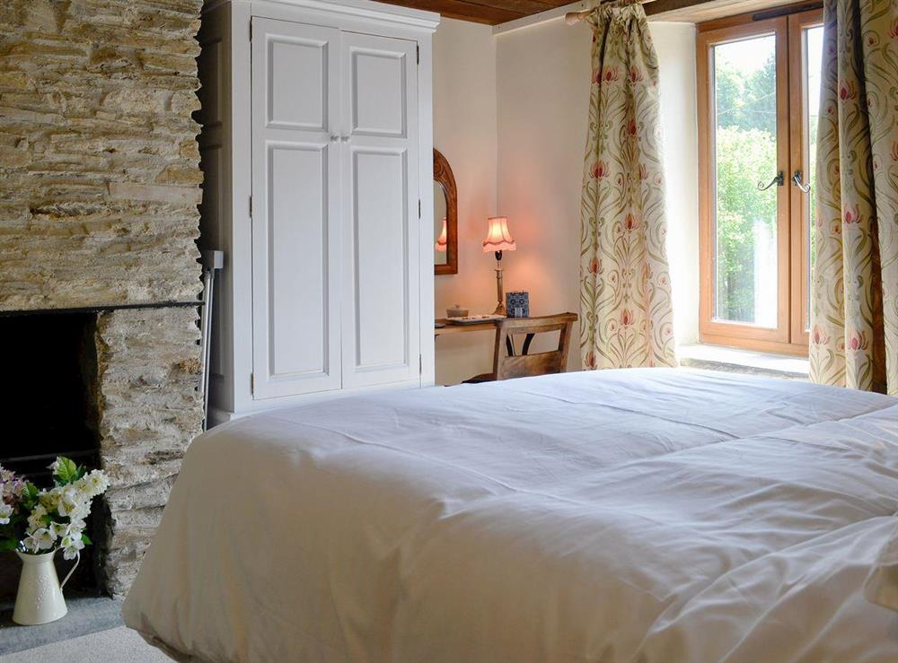 Spacious double bedroom at Rock Bottom in Milton Combe, near Yelverton, Devon