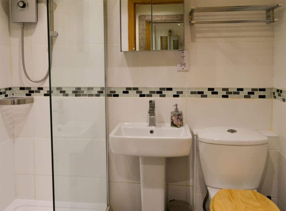 Shower room at Rockfish Cottage in Brixham, Devon