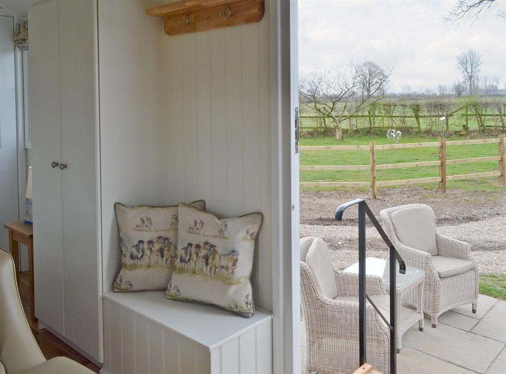 Easily accessed patio and surrounding countryside at The Rookery Shepherds Hut,