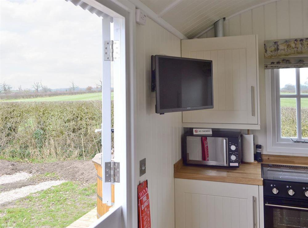 Great rural views from the 'stable style' door at The Rookery Shepherds Hut,