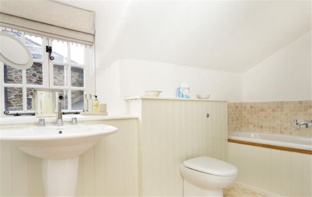 First Floor:  Bathroom with large walk in shower at Rose Cottage, Ashprington