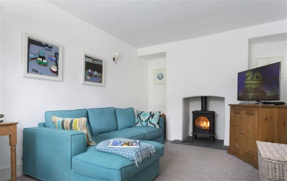Ground Floor:  Family room with wood burning stove at Rose Cottage, Ashprington
