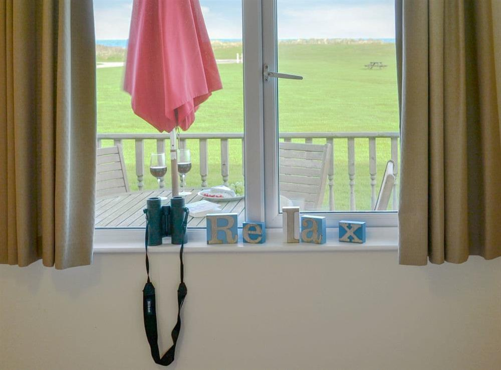 Sea views from the bedroom at Roses Place in Bacton, Norfolk