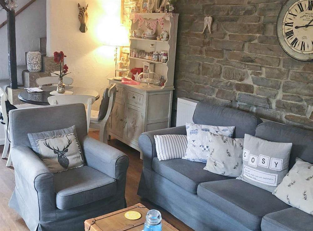 Living area at Round the Corner Cottage in Upperthong, near Holmfirth, West Yorkshire