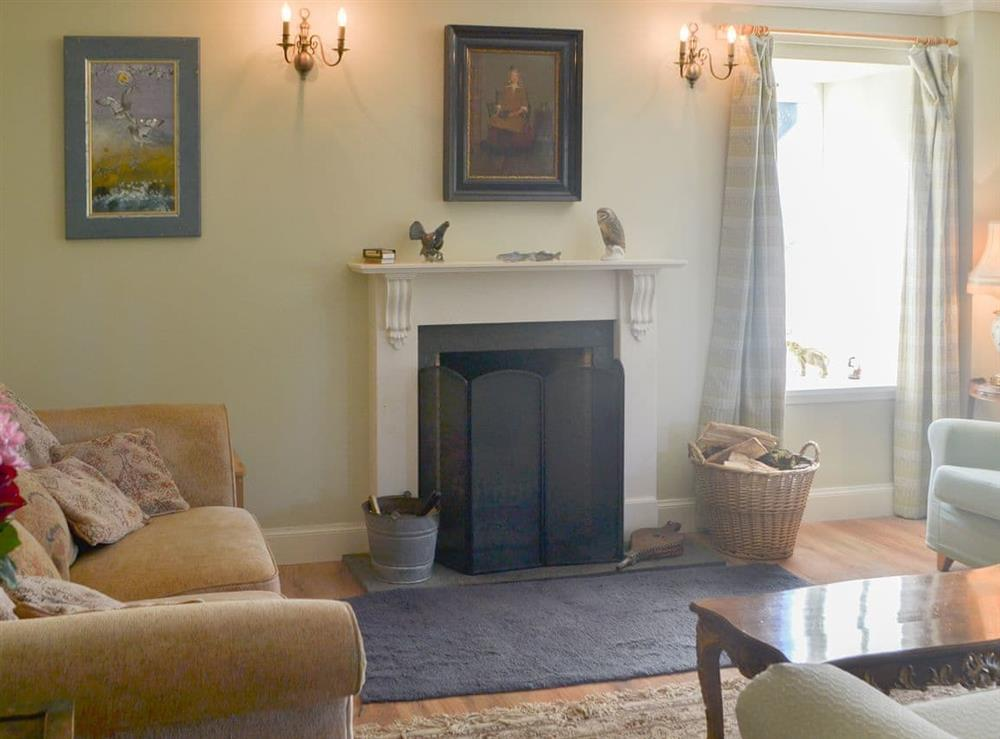 Elegant living room with open fireplace at Rowan House in Ardgay, near Dornoch, Ross-Shire