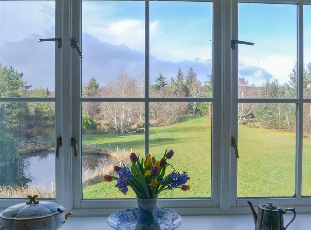 Stunning view over the garden at Rowan House in Ardgay, near Dornoch, Ross-Shire