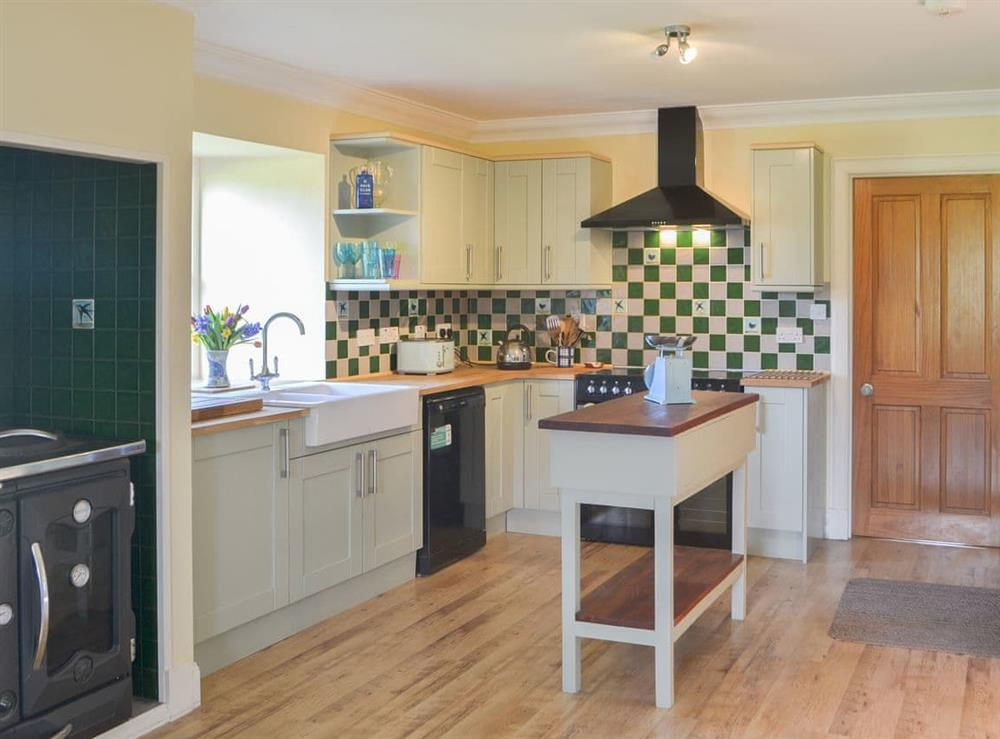 Well presented kitchen with range cooker at Rowan House in Ardgay, near Dornoch, Ross-Shire