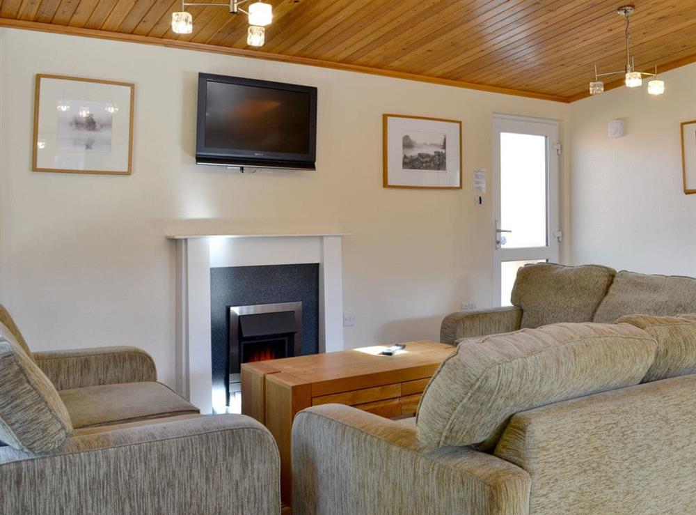 Living area at Royal Deeside Woodland Lodges- Lodge E in Dinnet, near Ballater, Aberdeenshire