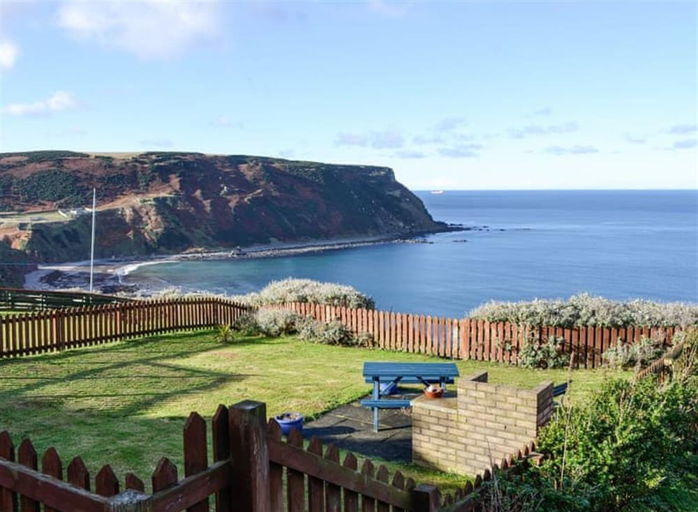 Beautiful uninterrupted views from the lounge over the sea below and beyond at Ruach in Gardenstown, near Macduff, Aberdeenshire