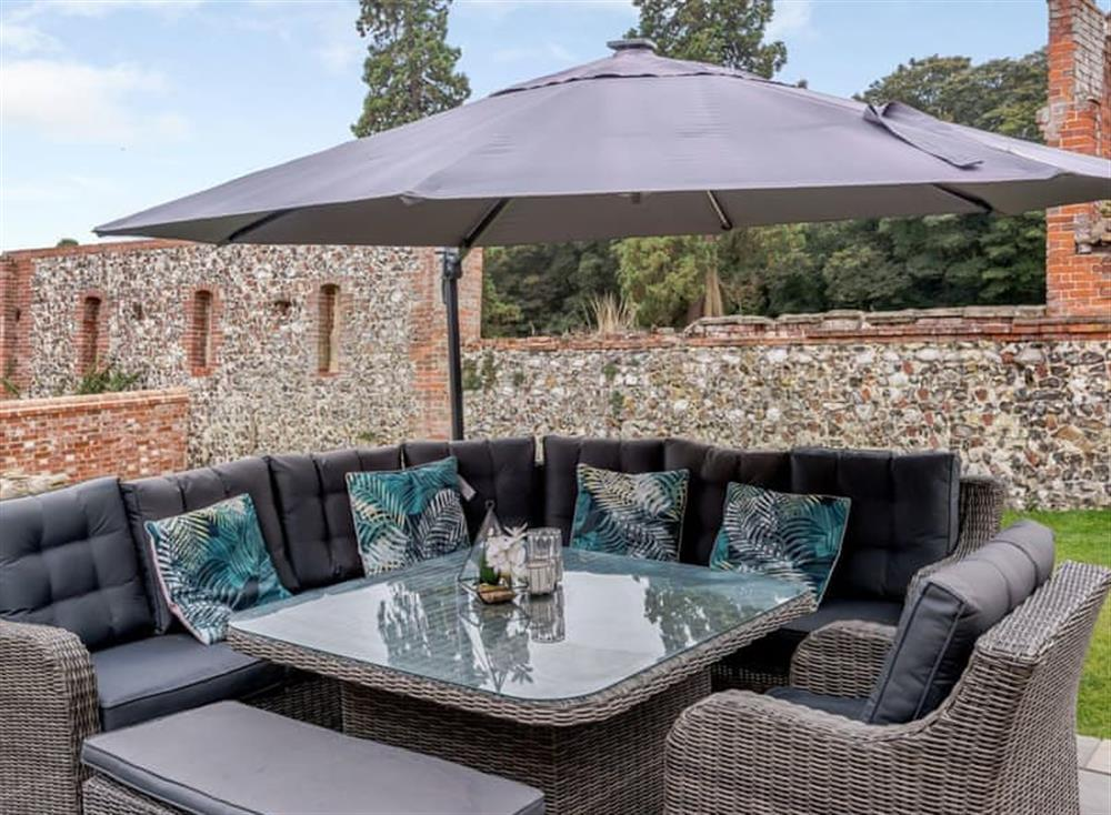 Outdoor seating area on the patio at Deer View Cottage,