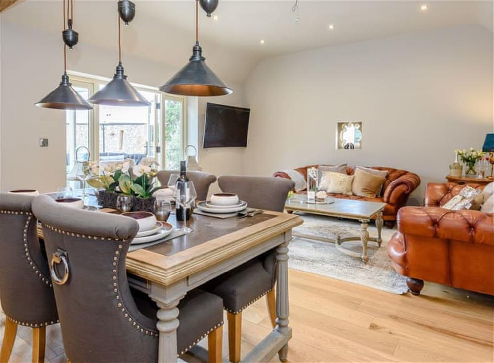 Stylish open-plan living space at Deer View Cottage,