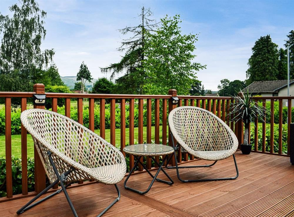 Decking at Salmon Leap Lodge in Dollar, near Stirling, Clackmannanshire