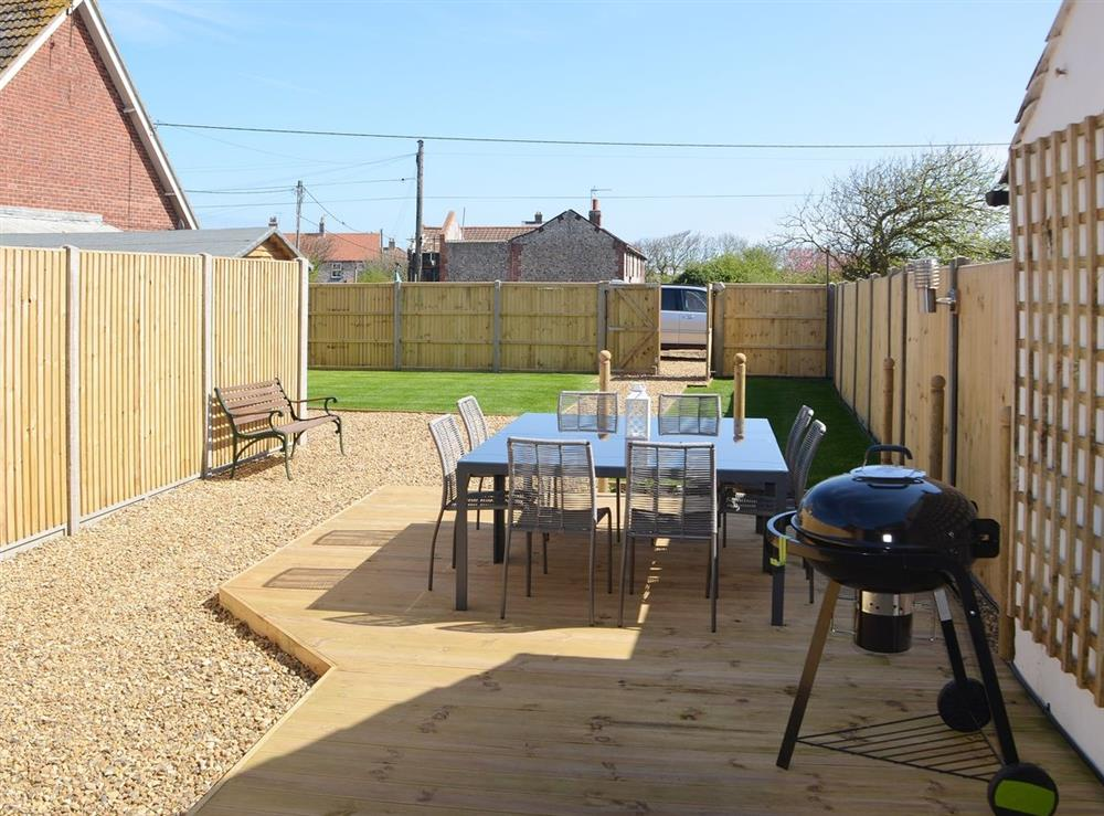 Outdoor eating area at Samphire in Bacton, Norfolk