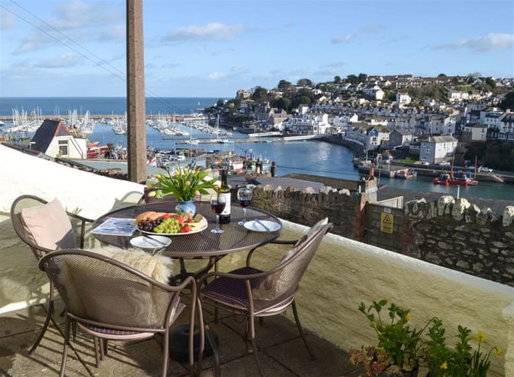 Sitting out area with lovely views at Samphire Cottage in Brixham, Devon