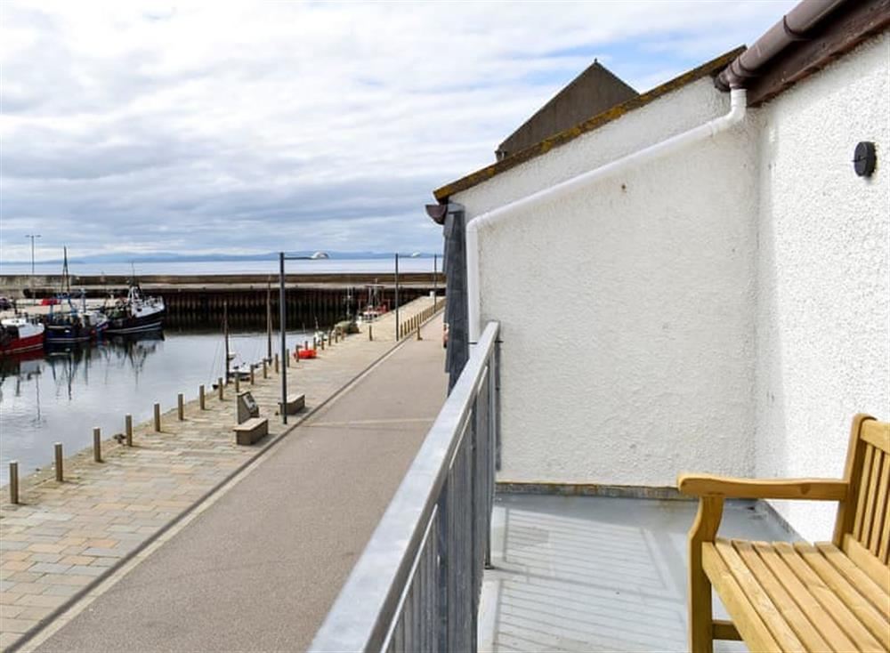 Relaxing sea views from the balcony at Sandpiper in Burghead, near Elgin, Loch Ness and Nairn, Morayshire