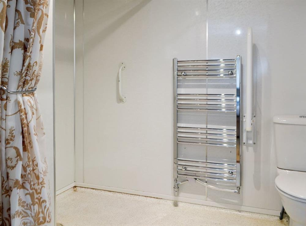 Wet room with heated towel rail