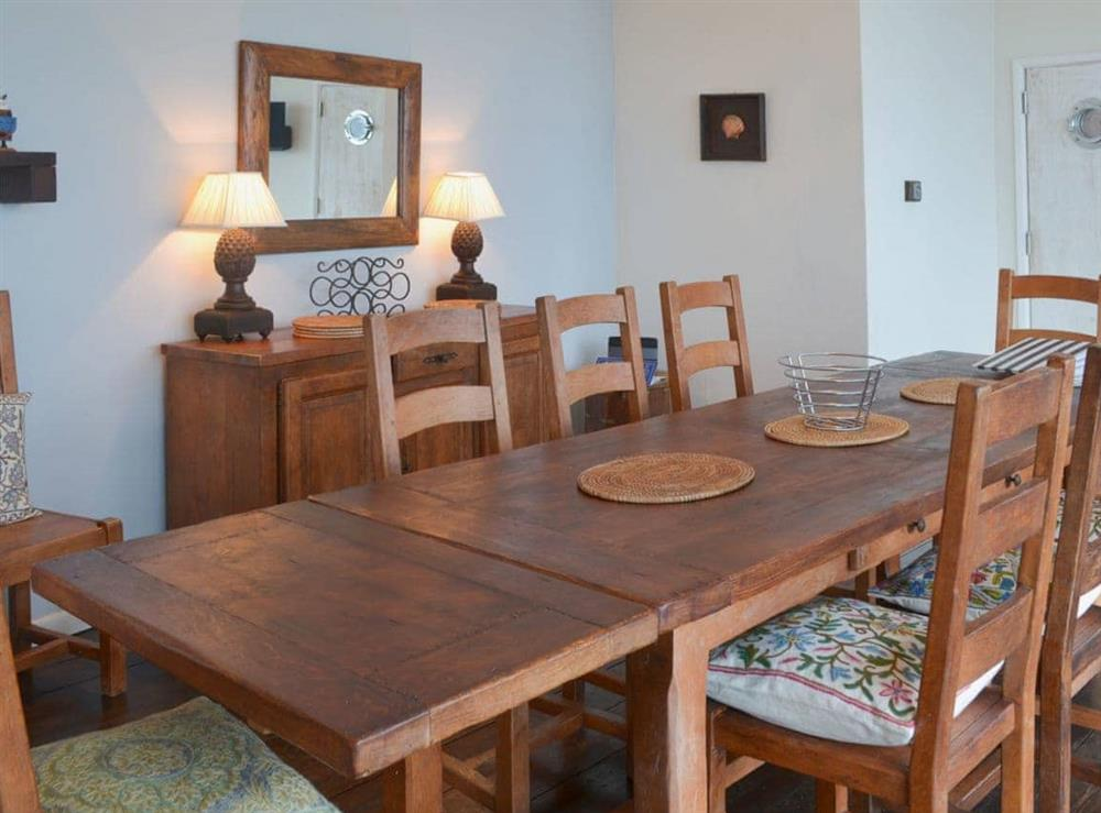 Dining room at Seacliff Cottage in Strete, near Dartmouth, Devon