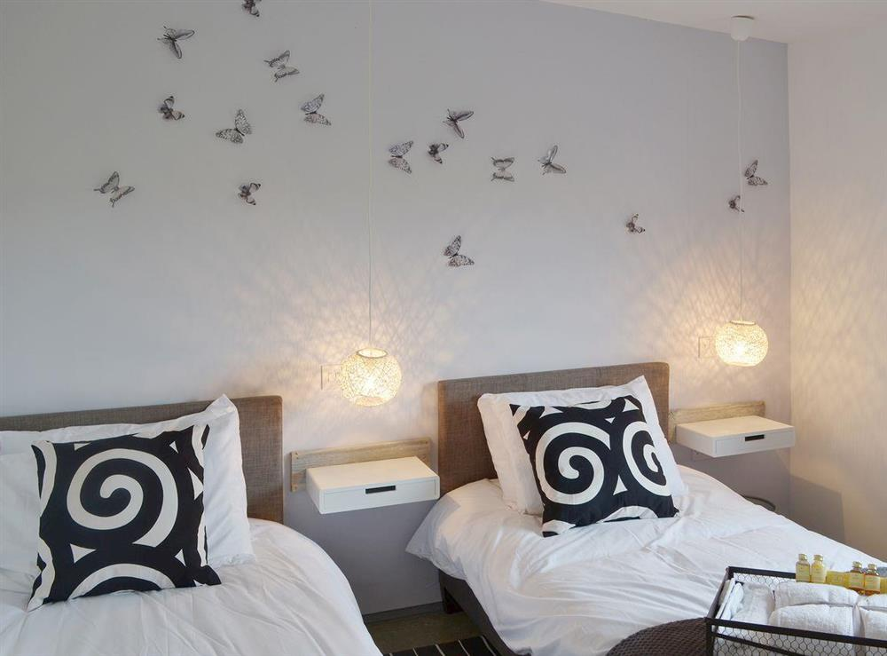 Stylish twin bedded room at Seaglass Barn in East Ruston, near Stalham, Norfolk