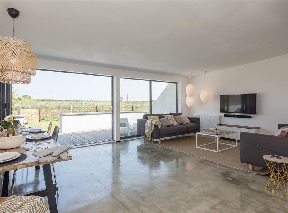 Open plan living space with polished concrete floor at Seaglass Barn (Sand),