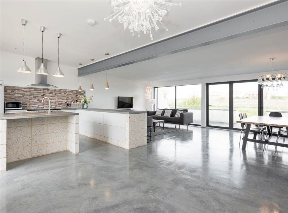 Contemporary open-plan living space at Seaglass Barn (Sea),