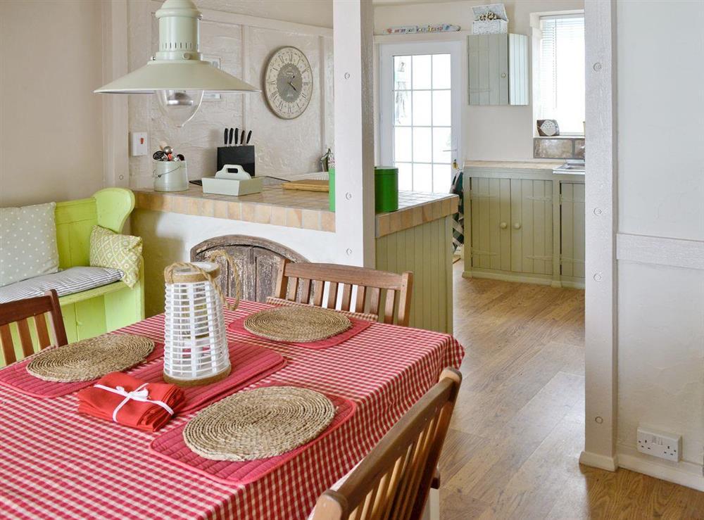 Airy dining room at Seaside Stories in Brixham, Devon