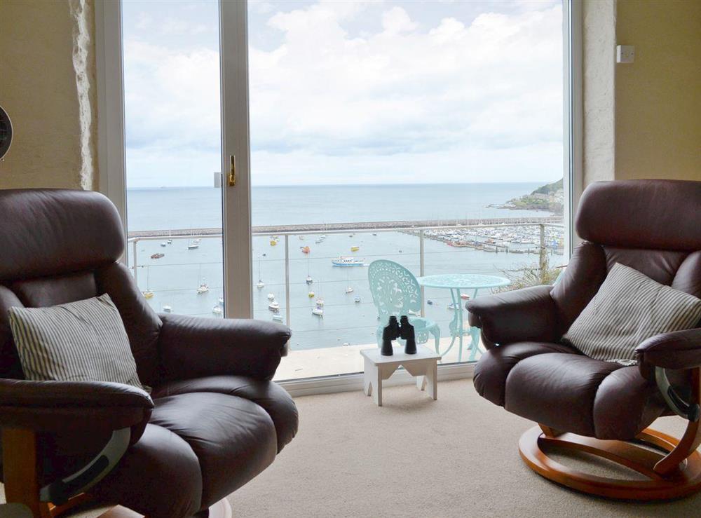 Fabulous sea-views from living room at Seaside Stories in Brixham, Devon