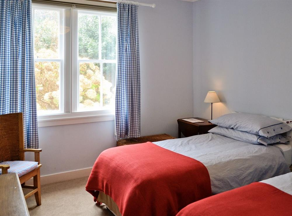 Twin bedroom at Seaview Cottage in Dunure, Ayrshire