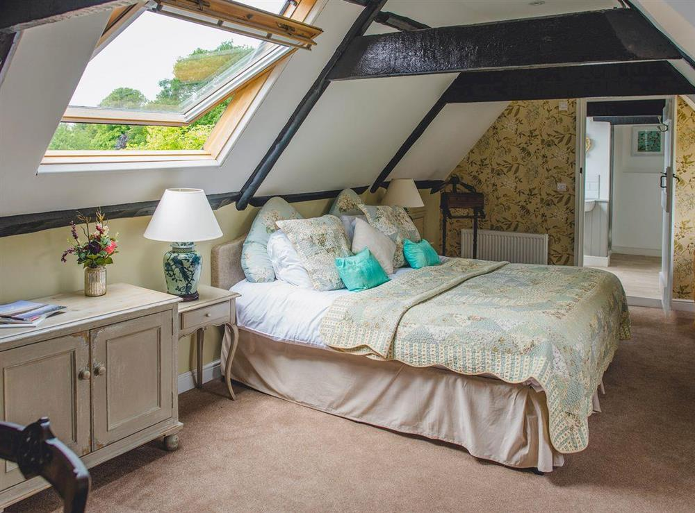 Exposed wood beams in the top floor double bedroom at The Sedgeford Hall,