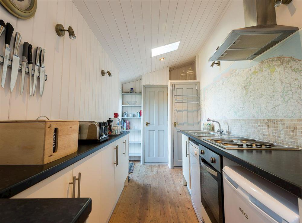 Galley style kitchen at The Sedgeford Hall,