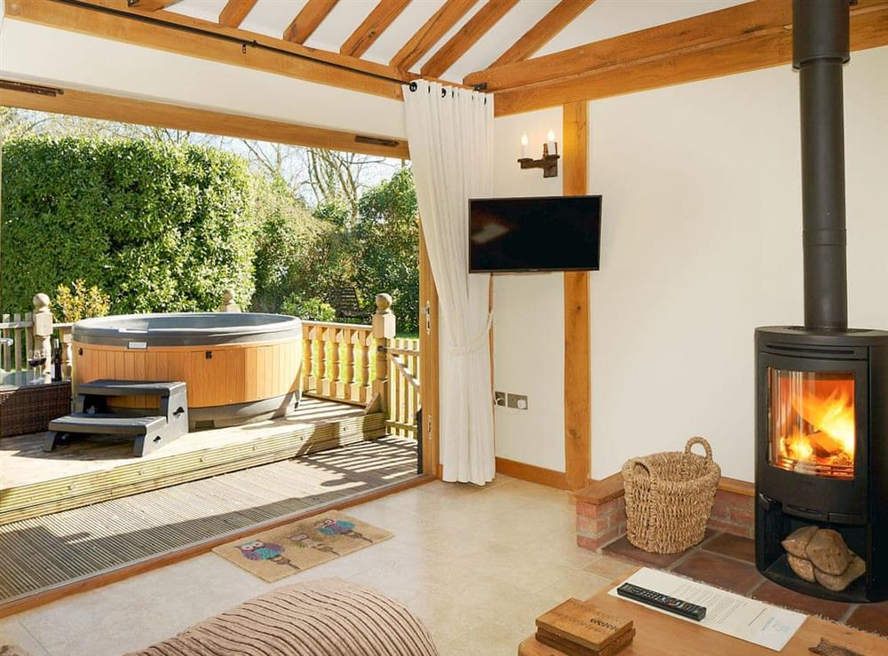 Delightful living area with cosy wood burner at Owls Hoot,