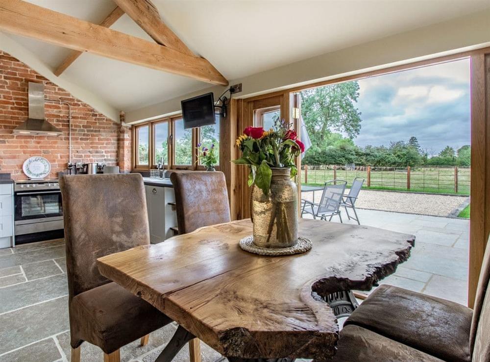Open plan living space at Shepherds Barn in Napton, Warwickshire