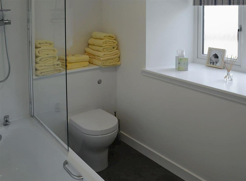 Bathroom with shower over bath and heated towel rail at Shepherds Cottage in Culrain, Ardgay, near Tain, Highlands, Ross-Shire