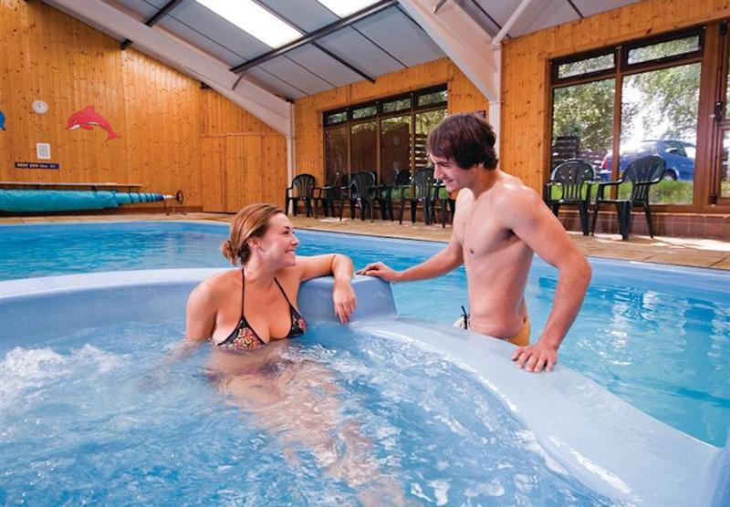 Indoor heated swimming pool at Sherwood Castle Holiday Forest in Nottinghamshire, Heart of England