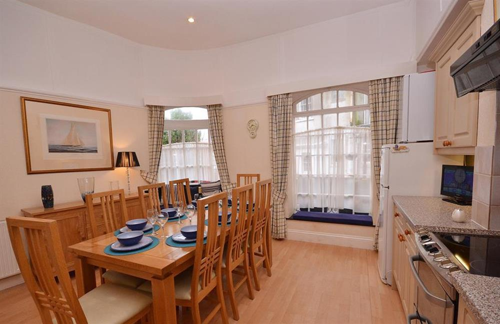 The dining table can readily accommodate 8 at Slipway House, Dartmouth