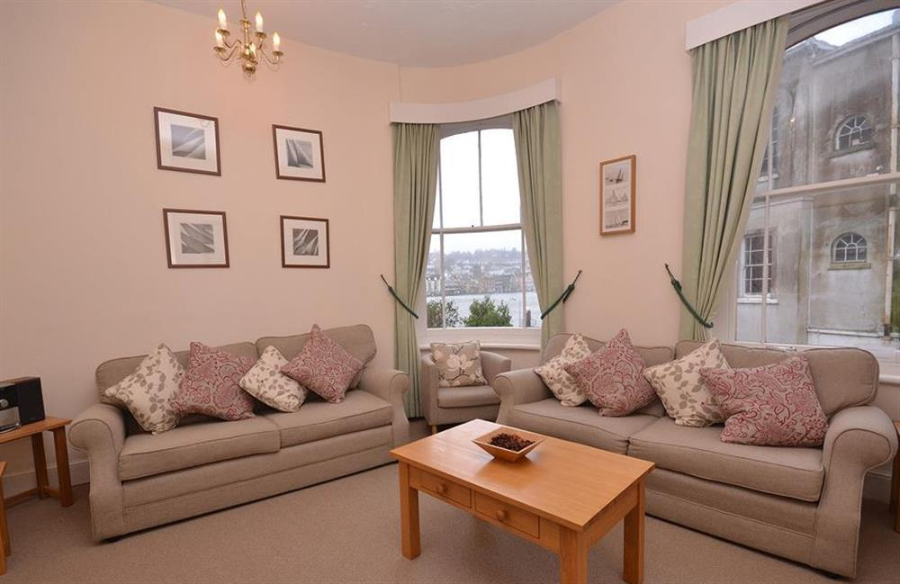 The first floor lounge benefits from superb views over the River Dart towards Dartmouth at Slipway House, Dartmouth