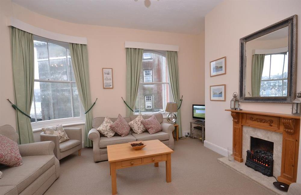 The light and airy lounge at Slipway House, Dartmouth